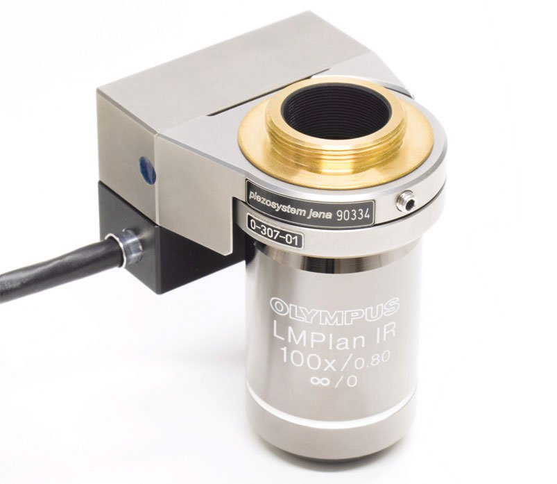 Microscope objective positioner - MIPOS 100 SG with objective